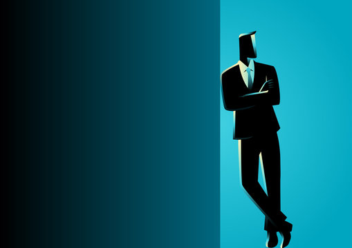 Businessman Leaning At Dark Blank Space
