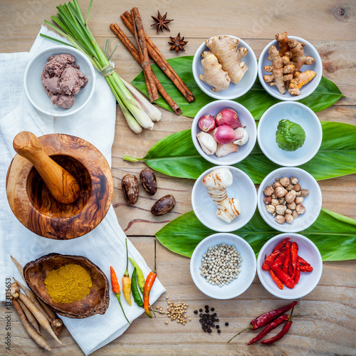 Various of thai food cooking ingredients for spice red for 8 spices thai cuisine