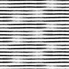 Seamless vector geometrical pattern with hand drawn lines. Endless black and white background with horizontal stripes.