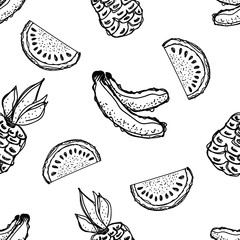 Seamless vector pattern. Hand drawn black and white fruits illustration of banana, pineapple, watermelon on the white background. Line drawing,