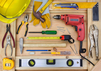 Construction tools on worker desk