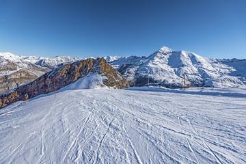 Skiing piste of Gavarnie Gedre ski resort