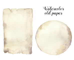 Watercolor old paper. Hand painted aged paper texture isolated on white background. For design, print.