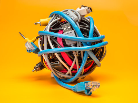 Tangled roll of wires