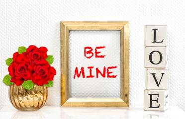 Golden frame red roses Greetings card