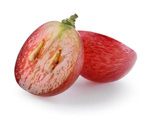 Fototapete - Ripe red grape. Fresh cut berry isolated on white. Full depth of
