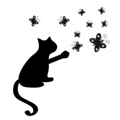Cat silhouette with butterflies on white background