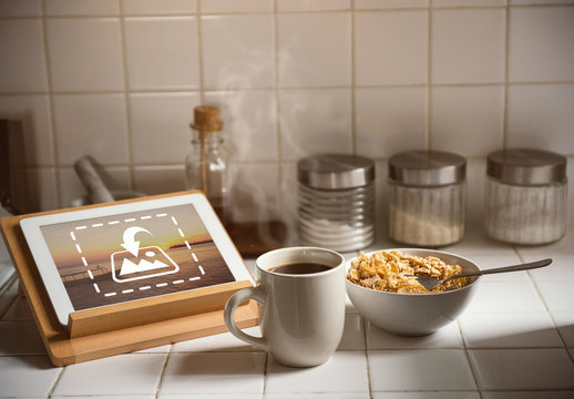 Tablet on Kitchen Counter Mockup