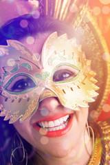 Brunette Brazilian wearing carnival costume