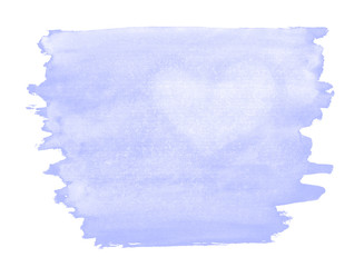 A fragment of a pale violet watercolor background with the light silhouette of the heart