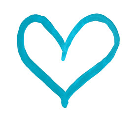 The outline of the turquoise heart drawn with paint on white background