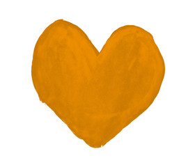 Ochre heart painted with gouache