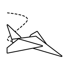 paper plane toy entertain outline vector illustration eps 10