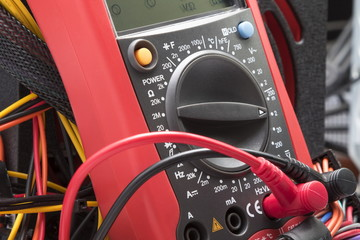 Red  multimeter for repair equipment