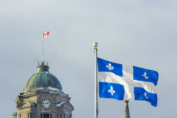 Quebec and Canadian flags in Quebec City, QC, Canada