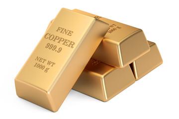 copper bars, 3D rendering