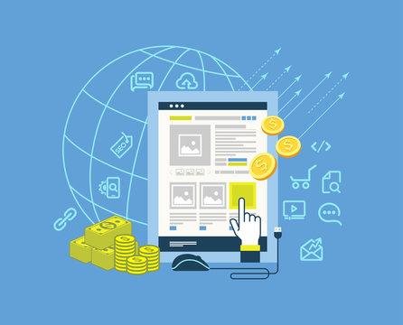 pay per click modern flat design illustration