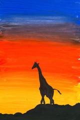 Giraffe at sunset, watercolor illustration