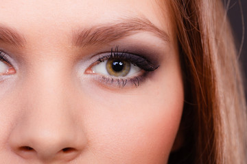 Close up of woman eyes make up.