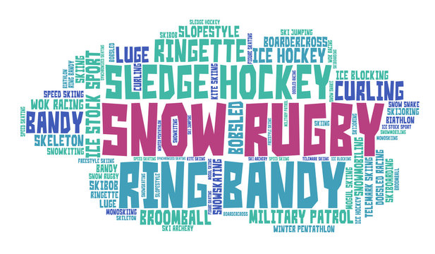 Snow rugby. Word cloud, colored font, white background. Olympics.