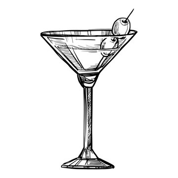 Alcoholic cocktail hand drawn sketch