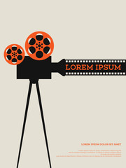 Movie film reel and filmstrip vintage poster vector illustration