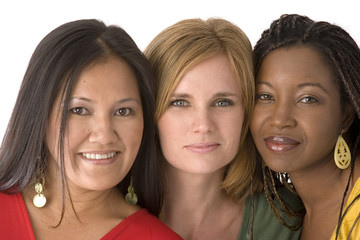Diverse group of women isolated on white.