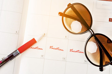 Mark long vacation on calendar.