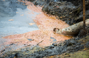 Sewage. Water pollution in river