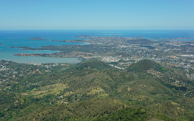 Aerial view of the peninsula of Noumea and the city, southwest coast of Grande Terre island, New Caledonia, south Pacific ocean