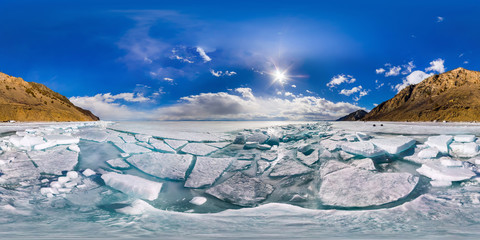 spherical panorama of 360,180 degrees Baikal ice hummocks in Olk