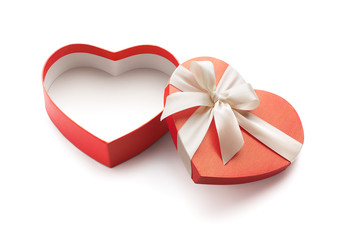 Red heart shape open gift box isolated on white background - Clipping path included