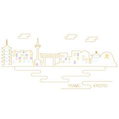 京都の町並みのイラスト
