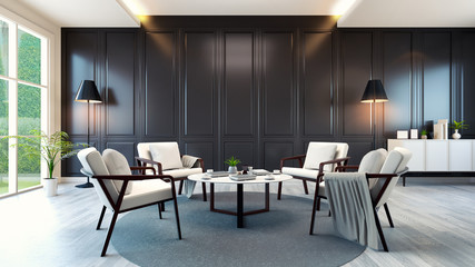 modern contemporary meeting room interior ,white armchair and white cabinet and table on wood floor and classic black wall,3d rendering