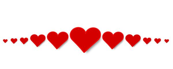 Herz Band Banner Rot Herzen Reihe Symbole