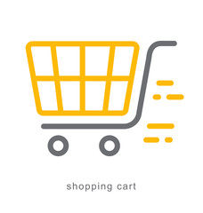Thin line icons, shopping cart