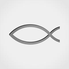 jesus fish grey icon