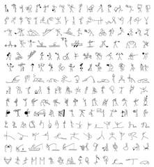 Cartoon icons set of 200 sketch little people stick figure