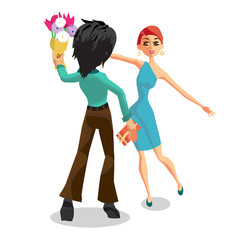 The young man gives a woman a bouquet of flowers. Back view. Hap