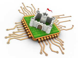 3d illustration of golden computer processor over white background with castle and with code inside