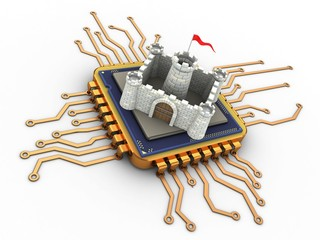 3d illustration of golden computer processor over white background with castle