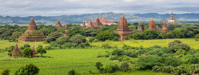 Panoramic view of pagodas field in Bagan ancient city, Mandalay,