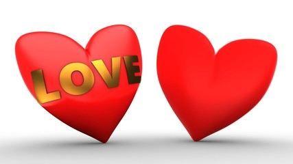 3d illustration of red heart over white  background with second red and love sign