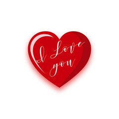 Happy Valentine's Day. Red Heart with handwritten text recognition in love.