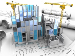 3d illustration of two cranes over drawing rolls background with building construction