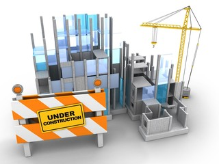 3d illustration of building construction over white background with crane