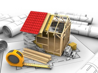 3d illustration of frame house structure over house plan background with ruler