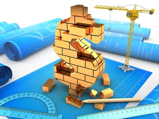 3d illustration of  over blueprints background with crane