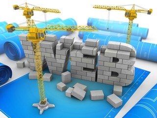 3d illustration of web development over blueprints background with two cranes