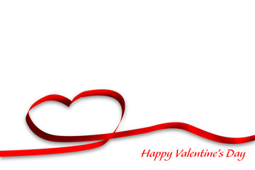 red line heart happy valentine's day isolated